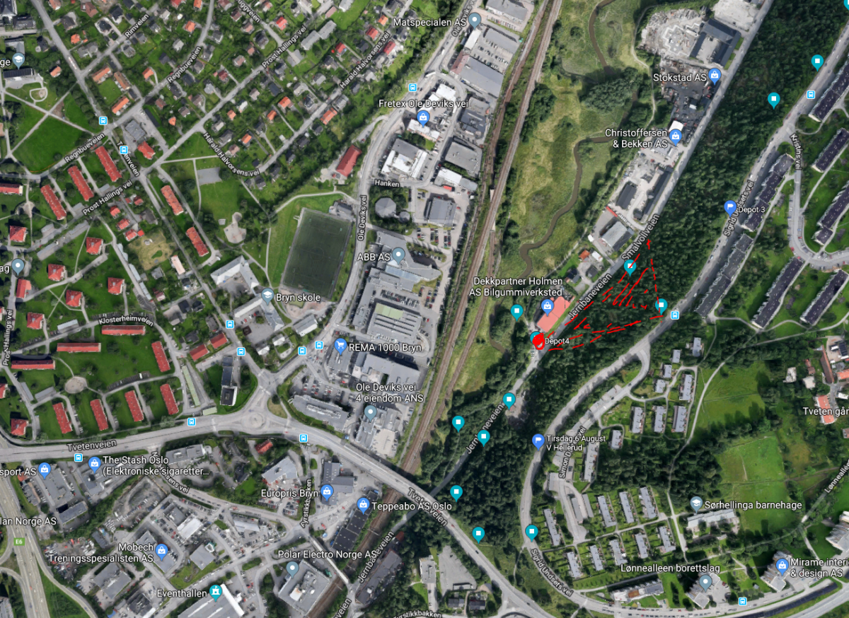 Alnabru mellom Smalvollveien og Sigrid Undsets vei (Nord) Depot 4