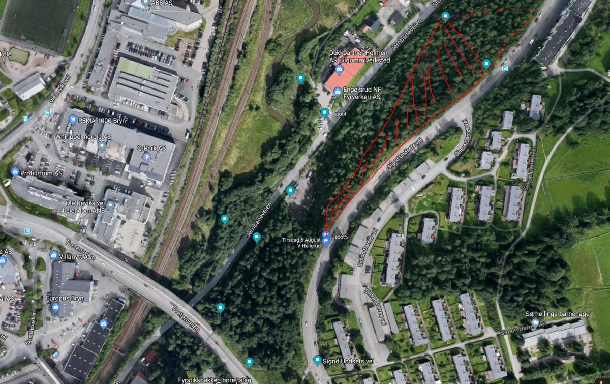 Alnabru mellom Smalvollveien og Sigrid Undsets vei (Nord) Depot 5